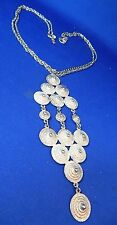 "Vintage Ladies JEWELRY SILVERTONE  24"" Neck Chain Necklace Drape Pendant EUC"
