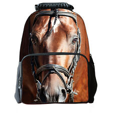 3D Brown Horse School Bag Travel Hiking Outdoor Backpack Men Women Shoulder L