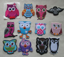 Wholesale lot  24pcs  Owl  embroidered   Applique Iron On Patch 4-7cm