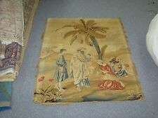"""ANTIQUE HAND STITCHED WOOL-WORK BIBLICAL TAPESTRY GOBELIN RUTH BOAZ 27"""" X 34"""""""