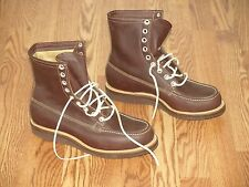 NOS VTG PENNEY'S FOREMOST BROWN LEATHER MEN'S MOC TOE HUNTING BOOT 9.5 EE