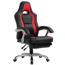CTF HIGH BACK RACING GAMING PU SWIVEL COMPUTER OFFICE CHAIR WITH FOOT STOOL