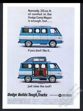 1965 Dodge Camp Wagon camper van color photo vintage print ad