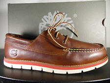Timberland Men's Classic 3-Eye  Harborside Boat Shoe Lite Brown oil 12 M/M US