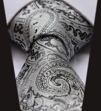 Mens Wedding Tie - Silver Grey White Black -SALE- Silk Satin Floral Paisley Gift