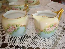 VINTAGE  FAVORITE BAVARIA HAND PAINTED SUGAR BOWL & CREAMER , WILD ROSE & GOLD