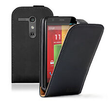 Ultra Slim BLACK Leather flip case cover pouch for Motorola Moto G / XT1032