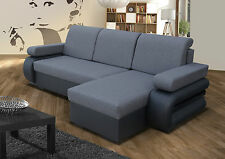 Corner Sofa Bed With two Storage Compartments. Grey/Black ,Soft Fabric/leather