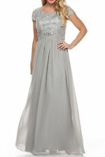 Silver Long  Mother Of Bride Dress/Jacket Party Evening Formal Gown  XL Fit 12