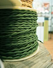 Forest Green Cloth-Covered Twisted Wire 25ft Roll Lamp Cord - Antique Fan Rewire