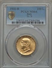 ITALY  1932-R  YR.X  100 LIRE  UNCIRCULATED GOLD COIN, PCGS CERTIFIED MS64