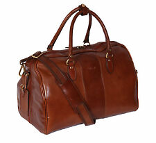 Genuine Leather Holdall Weekend Cabin Travel Gym Sports Duffle Bag Chestnut NEW