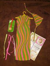 AMAZING Vintage Barbie Francie Color Magic STRIPES AWAY Dress, Head Scarf & More