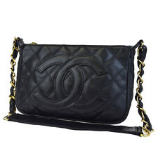 Auth CHANEL CC Chain Shoulder Bag Caviar Skin Leather Black Italy Vintage 84F042