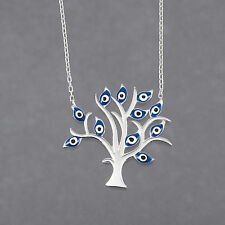 "Turkish Handmade Jewelry Evil-Eye Beads Pendant 925 Sterling Silver 16.1"" Length"