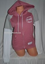 Victoria's Secret PINK Perfect Full Zip Hoodie Soft Begonia Colorblock White XS