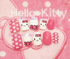 24 pcs Sweet Hello Kitty 3D Long fake false nails tips sticker gule N3022