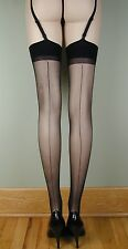SHEER PLAIN TOP BACK SEAM Stockings BLACK PLUS SIZE