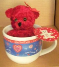 Love is in the air 14 oz mug and plush red bear set new