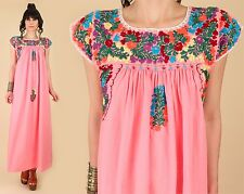 VtG 60's Cotton Watermelon Oaxacan Mexican Floral Embroidered Maxi Dress HiPPiE