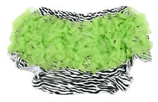 Zebra Diaper Cover with Lime Green Ruffles