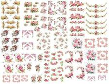 Dollhouse Miniature Shabby Chic Decals 1:12 Scale Floral Flowers Roses #2