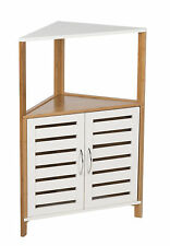 Bathroom Furniture Bamboo Wooden Storage Corner Floor Cabinet Unit Shelves Rack