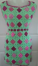 Vintage Hand-Crocheted FULL Bib Apron - Mint Green and Pinks - Large