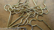 """25 x 2"""" 50mm LONG SMALL BRASS PLATED SCREW CUP HOOKS NO SHOULDER M HOOK"""
