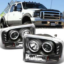 Blk 99-04 F250 F350 SuperDuty Excursion LED Halo Projector Headlights Left+Right