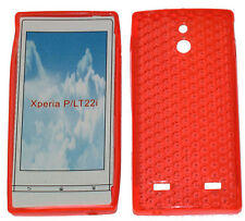For Sony Xperia P LT22i LT22 Pattern Soft Gel Case Protector Cover Orange New UK