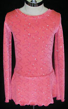 PINK SPARKLE Competition Ice Figure Skating Dress / Girls MEDIUM  8 / 9 / 10
