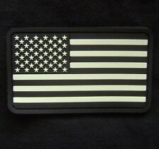 USA FLAG RUBBER PVC GLOW TACTICAL MILSPEC SWAT VELCRO® BRAND FASTENER PATCH