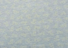 Bicycle Print Cotton French Terry Knit Fabric by Yard Yellow on Gray 5/16