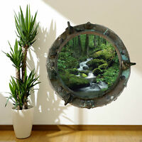 PORTHOLE Wild Jungle Waterfall River Full Colour Wall Art Sticker Decal Mural