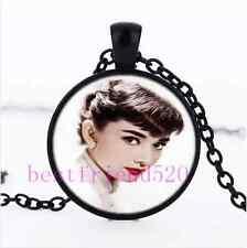 Audrey Hepburn Photo Cabochon Glass Black Chain Pendant  Necklace