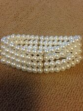NEW Forever 21 4 strand faux pearl bracelet, White color beads, stretch