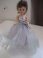 """Vtg 1950s VOGUE JILL DOLL 10"""" JOINTED Heart Earrings Formal Dress Brunette Blue"""