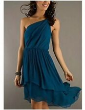 Max And Cleo Phoebe One Shoulder Azure Blue Dress Layered High-Low Hem Size L