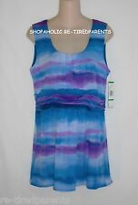 NINE WEST – TOP - WATERCOLOR PRINT - BLUES - PURPLES – SIZE LARGE – NWT $64