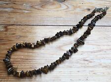 Pretty Retro Brown Agate Necklace/Glass Bead Or Polished Stone Chunks/Hippy/Boho
