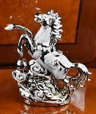 ITALIAN SILVER CHROME HORSE WITH BALL HOME DECOR ORNAMENT CHRISTMAS GIFT