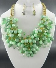 Multi Green Lucite Bead Flower Look Chunky Necklace Earring Set