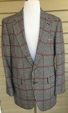 100% CASHMERE Sport Coat Jacket 44 Regular Houndstooth Lew Ritter Union Made 44R