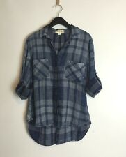 NWOT Anthropologie Blue Tencel Plaid Botton down Shirt Blouse By Cloth&Stone S