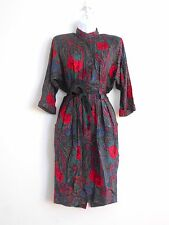 Vintage 1980s DRESS Red Roses Black Paisley Wiggle Cloth Belt Sz 6 JAZZY Petites