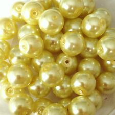 10mm Glass faux Pearls - Lemon Yellow (40 round pearl beads) jewellery making