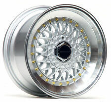 "ULTRALITE RS 16"" x 8 ET25 4x100 4x108 SILVER WITH GOLD RIVET ALLOY WHEELS Y2354"