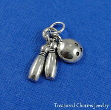 Silver BOWLING PIN AND BALL Bowler Tournament CHARM PENDANT