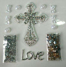 RR196 Love alloy Cross 3D DIY Mobile Cell Phone Case Alloy Crystal Deco Den Kit